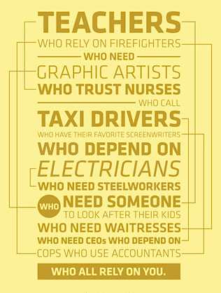 workers who need each other - AFL-CIO graphic