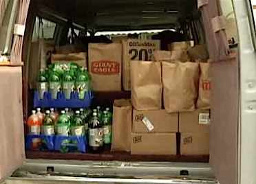 van-full of groceries NBC4 videoclip