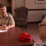 scout interviews WWII vet -NBC video snapshot