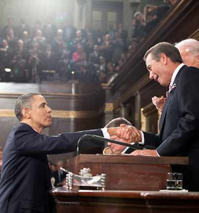 Speaker Boehner and Obama in Congress, 2011 -WHphoto
