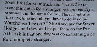Note for driver gives tires anonymously