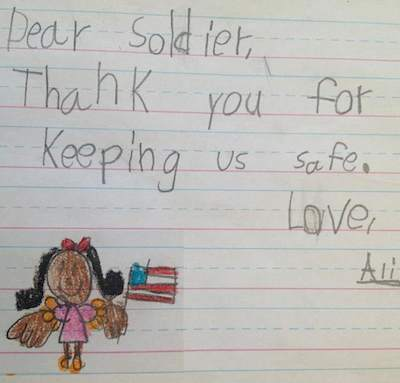 Soldiers letter from child - Savannah's Soldiers