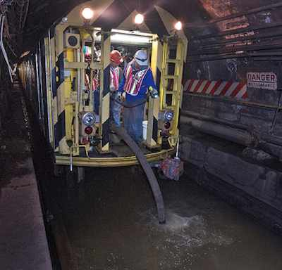 Subway tracks underwater NYC - MTA photo