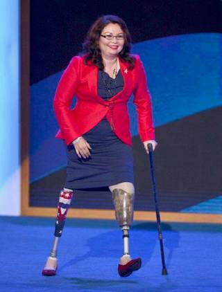 Tammy Duckworth walking on stage - Federal election Fair Use photo