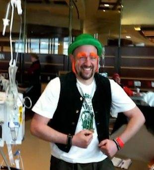 cancer patient joking in costume