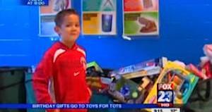 Birthday boy donates gifts
