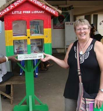 miniature library in Ghana - Kathy Stutzmanright