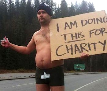 hitchhiker in underwear for charity