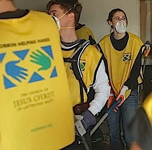 Cleanup crew in yellow vests-Mormon Helping Hands