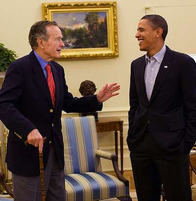 George H. W. Bush with Barack Obama - WH photo