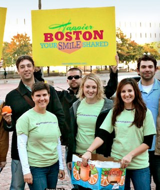 Handing out oranges with HappierBoston.org