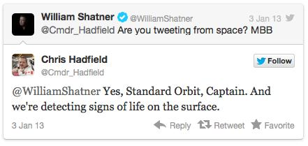 Twitter exchange w WilliamShatner