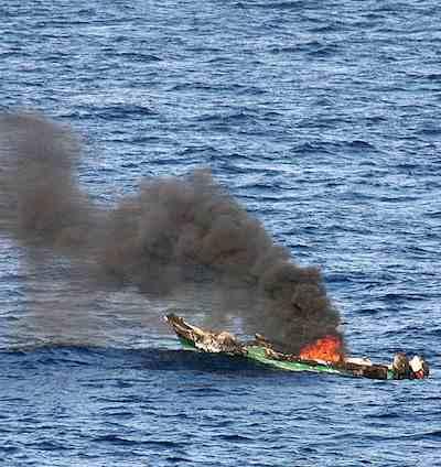 pirate ship burning-US Navy