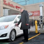 Electric car charging station-TimHortons