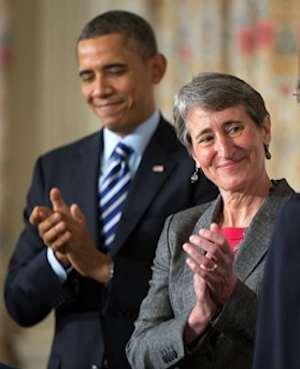 Sally Jewel Interior Sec w Obama-WHphoto
