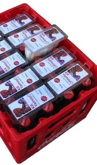 Cola Aid kits in Coke crates