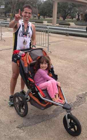 runner wins marathon pushing stroller - FB photo of Iram Leon