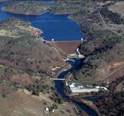 Klamath river dam aerieal view