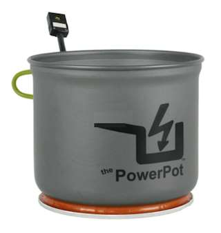 Power pot charging devices while cooking