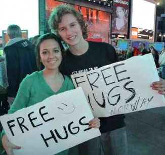 hugs sign Times Square