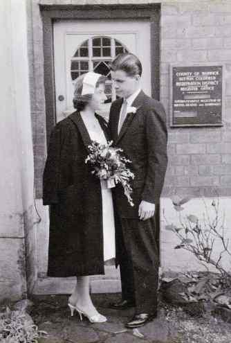 wedding couple in 1950's - family photo