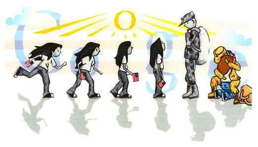 Google Doodle soldier dad
