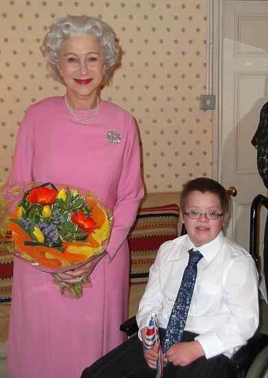 Helen Mirren Queen dressup with Oliver Burton