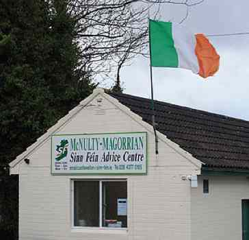Irish Sinn Fein office Irish flag-CC Ardfern