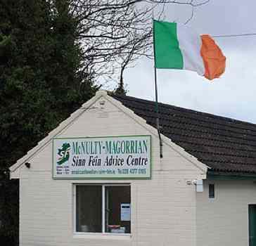 Irish Sinn Fein office Irish flag-CC Ardfern
