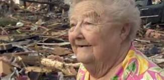 Lady finds dog in tornado