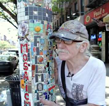 Mosaic man and his NYC lamppost