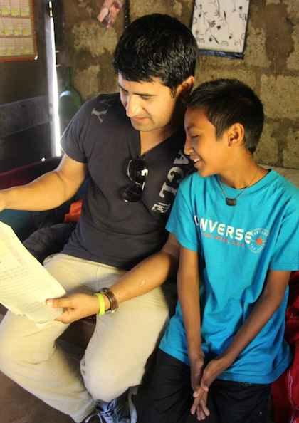 Nepal school student w/ sponsor-Ganga Ghar photo