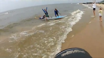 Lake Michigan paddle boarders, MLIVE.com video snippet