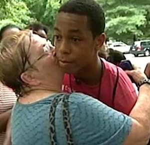 boy Temar Boggs hugged as hero