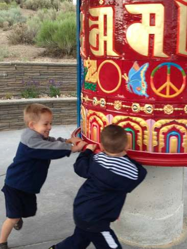 peace wheel spinning by kids