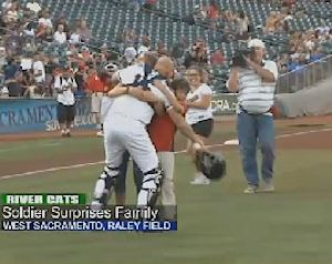 soldier surprise baseball catcher