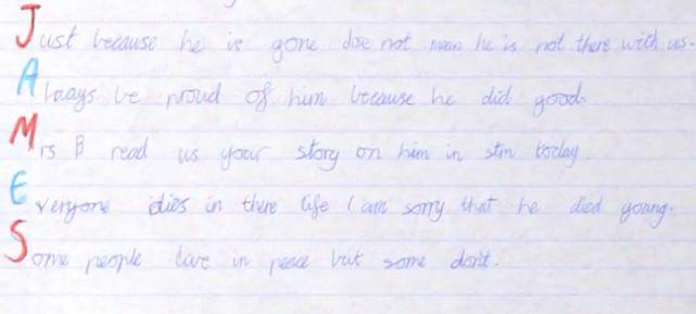 James letter written by schoolboy