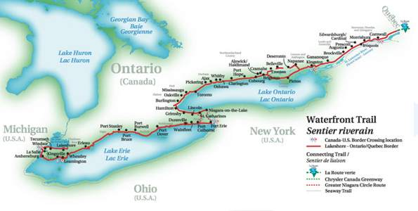Waterfront Trail in Canada map