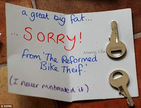 Note from reformed bike thief