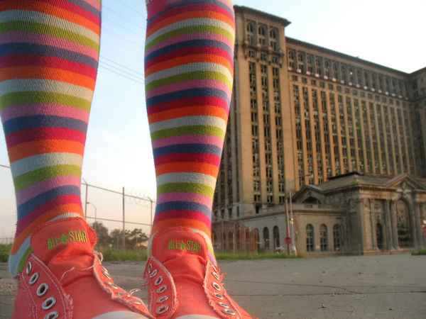 colorful Converse with urban Detroit building-artsy T-flickr-cc