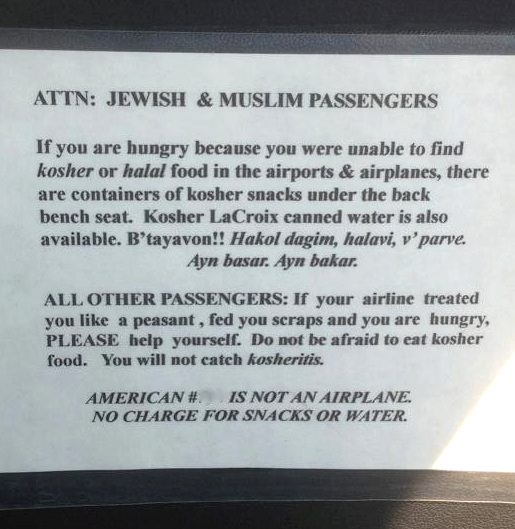 kosher food from cab driver-sign