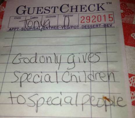 note to diners special children and God