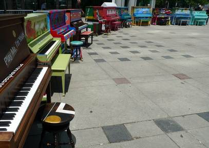 pianos public art installation-Boston