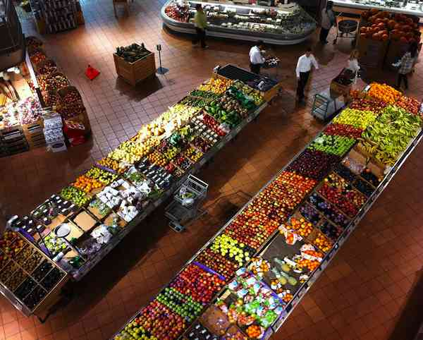 produce section grocery store aerial-BunnyheroFlickr