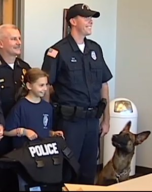 k9 vest donated to police dog by little girl