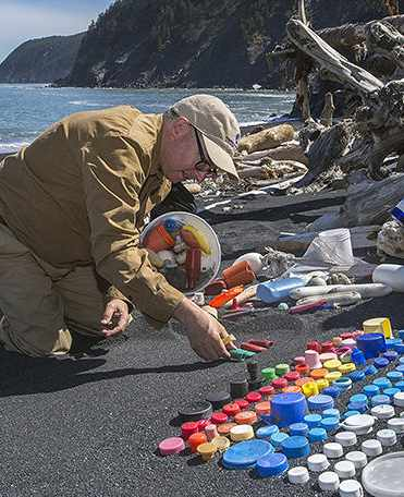 trash art Alaska shoreline-KIP EVANS
