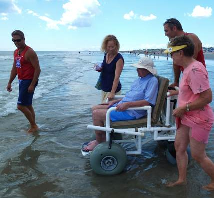wheelchair into surf - family photo of Jim Handy