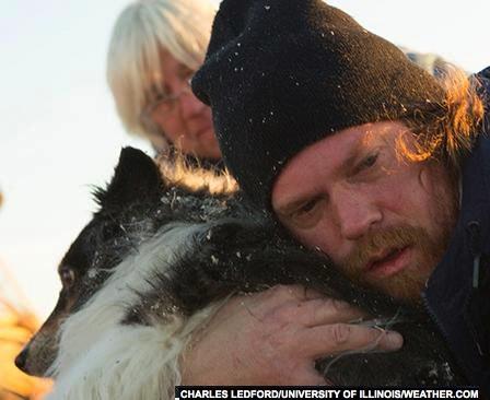 dog found in tornado wreckage - by Charles Ledford- U. of Illinois