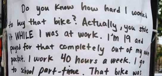 note left for bike thief