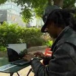 Coding in the park-homeless guy-NBCvid